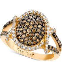 le vian chocolatier diamond oval cluster ring (1 ct. t.w.) in 14k gold
