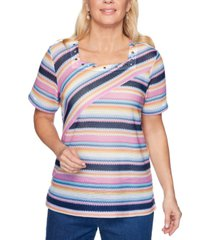 alfred dunner petal pushers striped biadere-textured top
