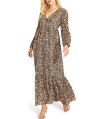 bb dakota by steve madden feature length film floral long sleeve maxi dress, size x-small in black at nordstrom