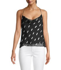 alice + olivia by stacey bendet women's harmon racerback top - black - size xl