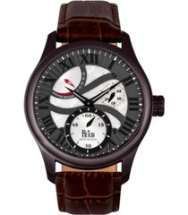 reign bhutan automatic black case, genuine brown leather watch 43mm