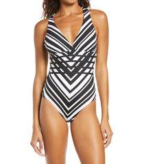 women's la blanca archistripe cross back one-piece swimsuit, size 10 - black