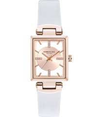 kenneth cole new york ladies transparency rectangular north - south white genuine leather strap watch 25mm