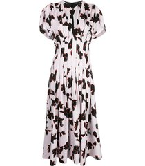 georgette short sleeve floral pleated dress