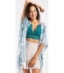 cadie tropical frayed kimono - mint