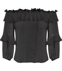 blusa feminina ombro a ombro babados - preto