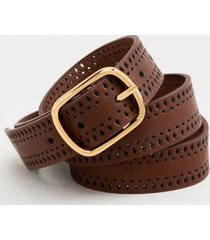 heidi small dot buckle belt - brown