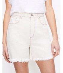 loft curvy fresh cut high waist boyfriend shorts in whitewashed