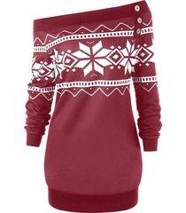 plus size snowflake geometric skew neck pullover sweatshirt