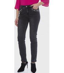 jeans 5 bolsillos aplicación strass negro lorenzo di pontti