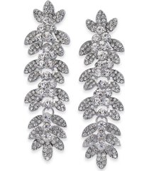 inc silver-tone crystal leaf linear drop earrings, created for macy's
