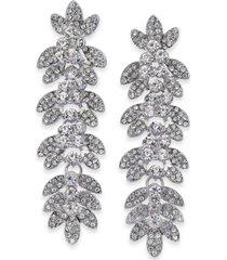 thalia sodi silver-tone crystal pave leaf drop earrings, created for macy's