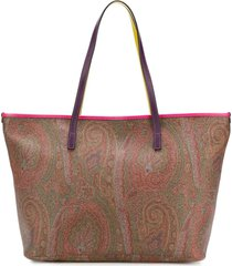 etro tote bag in paisley cotton jacquard coated fabric
