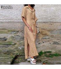 zanzea vestido largo de manga corta con abertura lateral para mujer vestido largo con botones casual sun beach -marrón