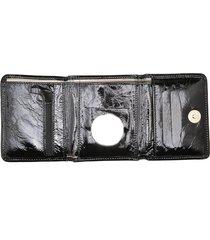 carteira de couro menor hendy bag preto verniz sem plastico - tricae