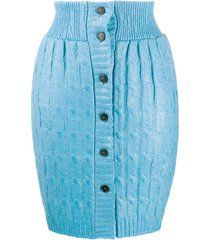 msgm coated cable-knit skirt - blue