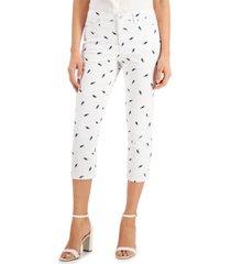 charter club petite seahorse-print capri jeans, created for macy's