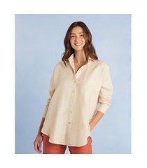 camisa de linho com corte clássico cor: bege - tamanho: pp