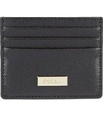 furla women's textured leather card case - nero