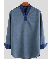 mens vintage manica lunga v collo camicie camicetta formale da festa top a tunica magliette