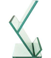 revisteiro escher de vidro pequeno vidrotec branco