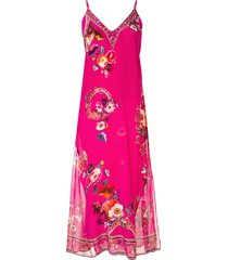 camilla lace-up silk midi dress - pink