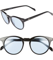 brightside oxford 49mm sunglasses in black/arctic blue at nordstrom