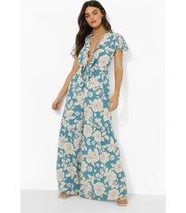 bloemenprint wide leg jumpsuit met laag decolleté, blue