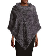 cowlneck poncho with fur