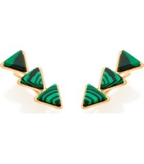 brinco bijoulux  de grampo composto por pedras verdes triângulares semi jóia