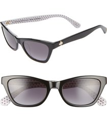 women's kate spade new york johneta 51mm cat eye sunglasses - black/ blue