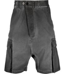 11 by boris bidjan saberi distressed drop-crotch shorts - grey