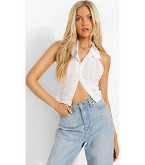 mouwloze broderie blouse, white