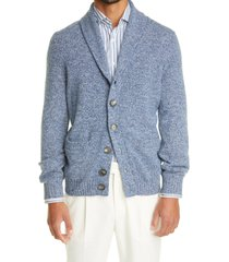 brunello cucinelli solomeo melange wool, cashmere & silk cardigan, size 38 us in blue at nordstrom