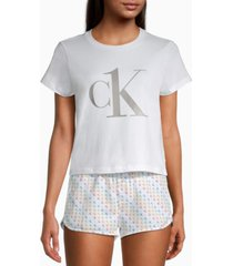 calvin klein ck one rainbow logo pajama shorts set