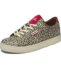tenis lifestyle animal print leopardo piña colada queen cuero