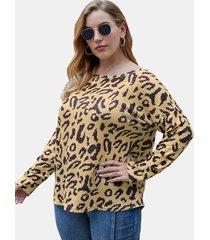 camicetta a maniche lunghe con stampa leopardata plus