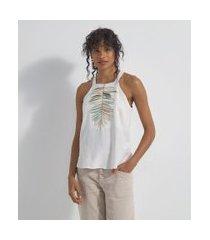 blusa regata alça larga com bordado de folha | marfinno | branco | gg