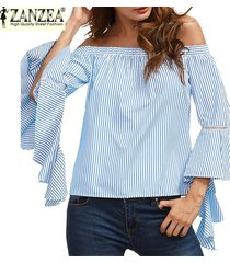 2017 zanzea raya vertical del cuello del hombro de la llamarada de la manga del volante de la raya de la camisa para mujer de moda fiesta ocasionales de la playa del verano remata la blusa (azul) -azul