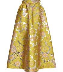 msgm yellow floreal skirt