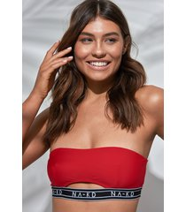 na-kd swimwear logo cut out bandeau bikini - red
