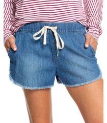 roxy juniors' cotton drawstring denim shorts
