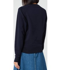 maison kitsuné women's sweatshirt fox head patch - navy - xs