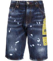 philipp plein studded logo distressed shorts - blue