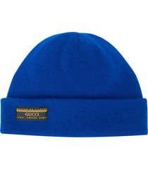 gucci fold-over beanie - blue