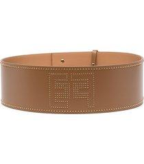 elisabetta franchi studded leather belt - brown
