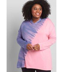 lane bryant women's livi french terry pullover hoodie - tie-dye 14/16 sachet pink