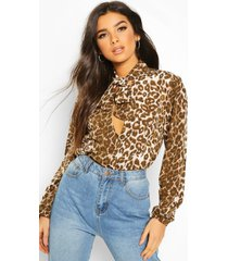 pussy bow tie neck volume sleeve top, brown