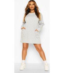 plus side pocket longsleeve sweatshirt tunic, light grey