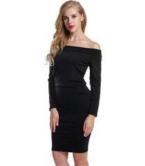 vestido ajustado con hombros descubiertos y manga larga con vestido mujer